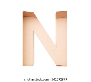 3D decorative Alphabet From cardboard box, capital letter N