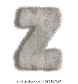 3d decorative animal fur letter Z isolated on white background