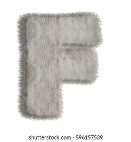 3d decorative animal fur letter F isolated on white background