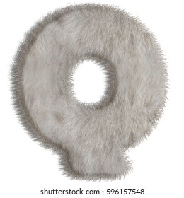 3d decorative animal fur letter Q isolated on white background