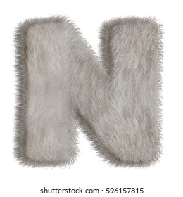 3d decorative animal fur letter N isolated on white background