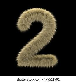 3d decorative wild animal fur number 2 on a transparent background