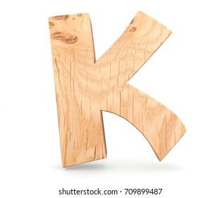 3D decorative wooden Alphabet, capital letter K