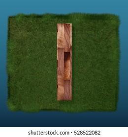 3D decorative wooden Alphabet on green Grass, capital letter I