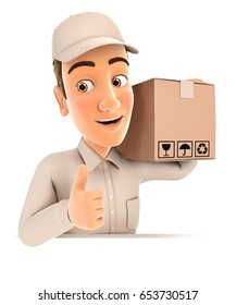 3d delivery man carrying package with thumb up, illustration with isolated white background