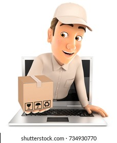3d delivery man coming out of laptop with package, illustration with isolated white background