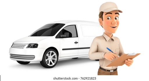 3d delivery man with notepad in front of car, illustration with isolated white background