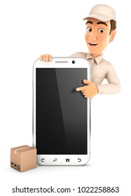 3d delivery man pointing to blank smartphone, illustration with isolated white background