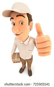 3d delivery man positive pose with thumb up, illustration with isolated white background