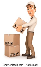 3d delivery man stacking parcels, illustration with isolated white background