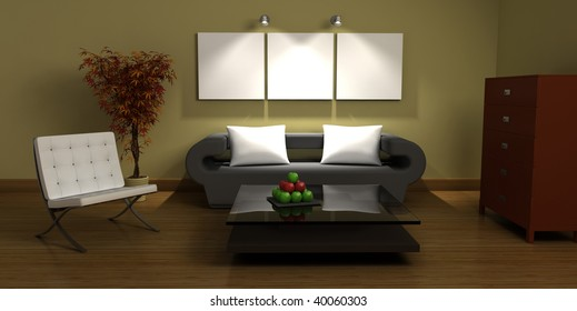 3D design interior with furnitures
