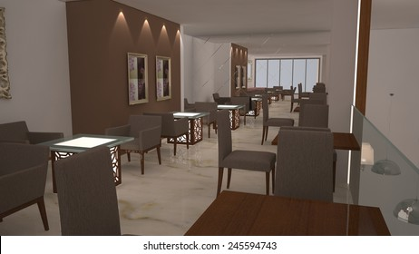 3D design of the  Interior of a modern cafe
