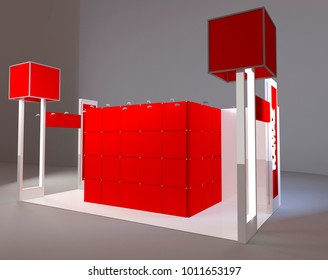 3d design render of modern red exhibition stand.