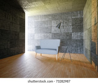 3d designers sofa and a lamp in concrete interior