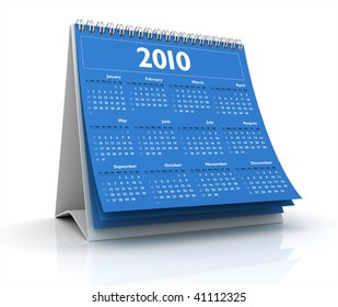 3D desktop calendar 2010 in white background
