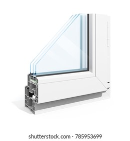 3d detailed window frame profile section, on white background