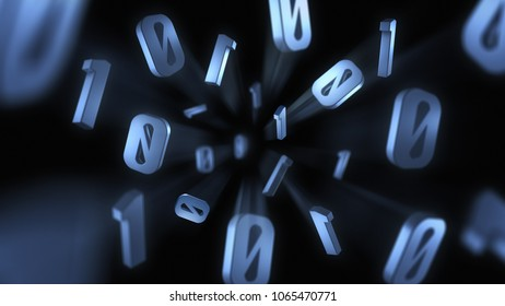 3D Digital Concept Showing Binary Numbers Exploding Out Towards the Camera With Motion Blur Trails