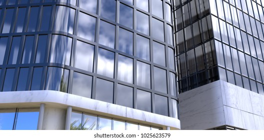 3d Digital generated image of modern building against view of blue sky and cloud