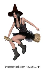 3D digital render of a beautiful young witch flying on a broomstick isolated on white background