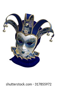 3D digital render of a blue Venetian mask isolated on white background