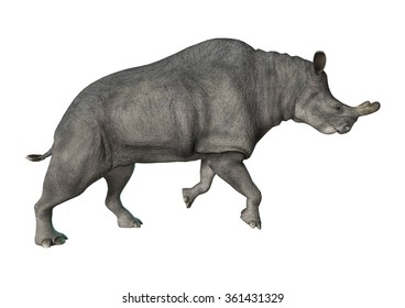 3D digital render of a Brontotherium or thunder beast isolated on white background
