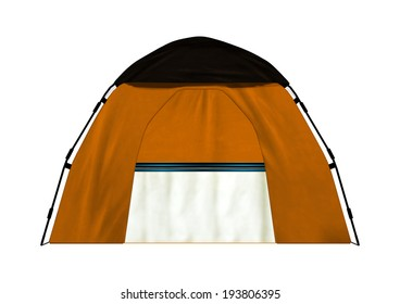3D digital render of a camping tent isolated on white background