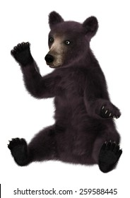3D digital render of a cute little black bear isolated on white background