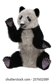 3D digital render of a cute panda bear isolated on white background