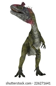 3D digital render of a dinosaur Cryolophosaurus looking up isolated on white background