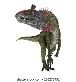 3D digital render of a dinosaur Cryolophosaurus turning around isolated on white background