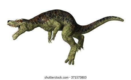 3D digital render of a dinosaur Tyrannosaurus Rex isolated on white background
