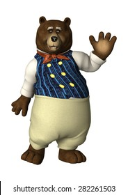 3D digital render of a fairytale bear waving isolated on white background