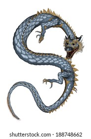 3D digital render of a fantasy eastern dragon isolated on white background
