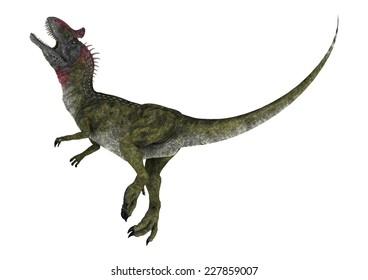 3D digital render of a knocked dinosaur Cryolophosaurus isolated on white background