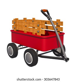 3D digital render of a red transport trolley isolated on white background