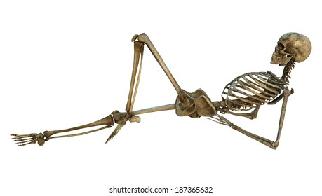 3D digital render of a resting old human skeleton isolated on white background