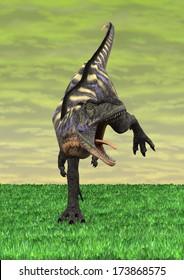 3D digital render of a running dinosaur Aucasaurus on green sky background