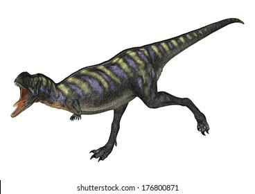 3D digital render of a running dinosaur Aucasaurus isolated on white background
