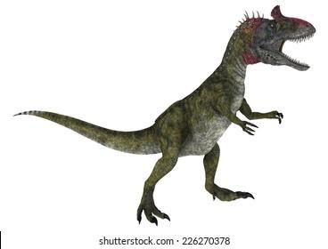 3D digital render of a running dinosaur Cryolophosaurus isolated on white background
