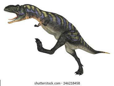 3D digital render of a running and screaming dinosaur Aucasaurus isolated on white background