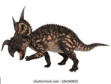 3D digital render of a scared ceratopsian dinosaur Einiosaurus isolated on white background