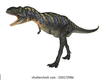 3D digital render of a scared dinosaur Aucasaurus isolated on white background