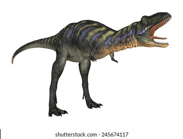 3D digital render of a screaming dinosaur Aucasaurus isolated on white background
