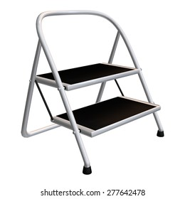 3D digital render of a step ladder isolated on white background
