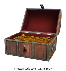3D digital render of a treasure chest isolated on white background