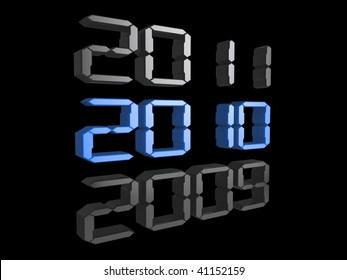 3d digital text showing the date changing to 2010