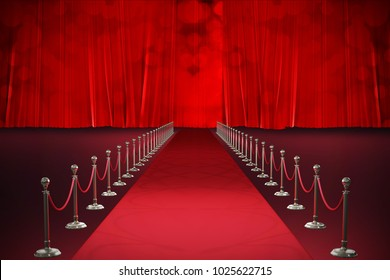 3d Digitally generated image of red carpet event against red curtain