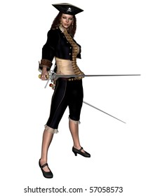 3d Digitally rendered illustration of a female buccaneer or pirate carrying twin rapiers