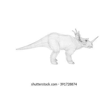 3d dinosaur wireframe (lines) isolated on a white back ground