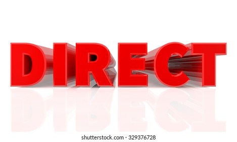 3D DIRECT word on white background 3d rendering